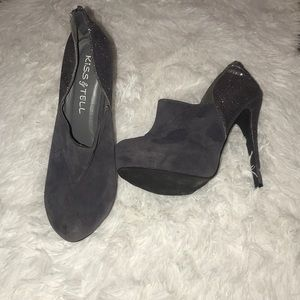 Shoes - Gray sparkle and suede shoe boots